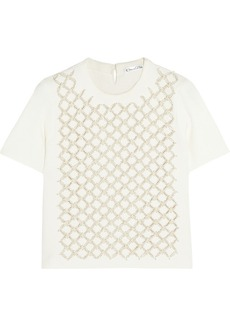 Oscar de la Renta Embellished cutout knitted top