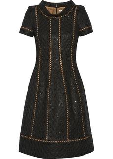 Oscar de la Renta Embellished double-faced wool-blend dress