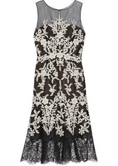 Oscar de la Renta Embellished embroidered tulle midi dress