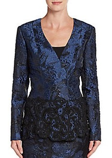 Oscar de la Renta Embellished Lace Jacket