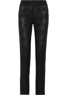 Oscar de la Renta Embellished lace straight-leg pants