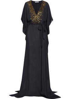 Oscar de la Renta Embellished silk-chiffon kaftan