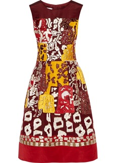 Oscar de la Renta Embellished silk-faille dress