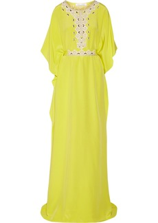 Oscar de la Renta Embellished silk maxi dress