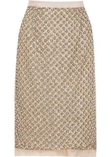 Oscar de la Renta Embellished silk-organza skirt