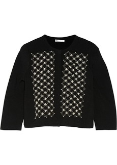 Oscar de la Renta Embellished stretch-knit cardigan