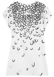 Oscar de la Renta Embroidered cotton-voile kaftan