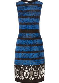 Oscar de la Renta Embroidered printed silk dress