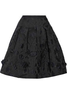 Oscar de la Renta Embroidered satin skirt