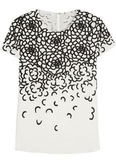 Oscar de la Renta Embroidered silk top