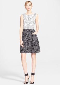 Oscar de la Renta Embroidered Two-Tone Tweed Dress