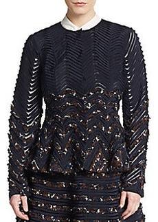 Oscar de la Renta Embroidered Zigzag Jacket
