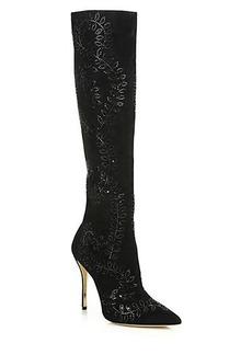 Oscar de la Renta Espresi Crystal-Embellished Suede Knee Boots