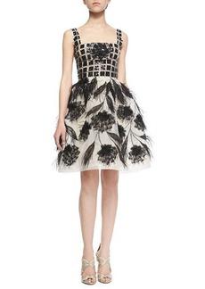 Oscar de la Renta Feather-Detail Organza Dress