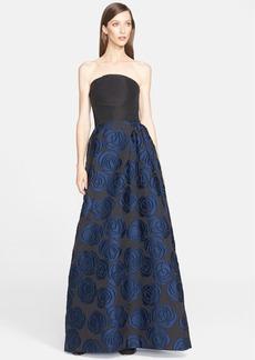 Oscar de la Renta Fil Coupé Strapless Silk Gown