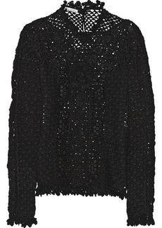 Oscar de la Renta Floral-appliquéd crochet-knit cashmere sweater