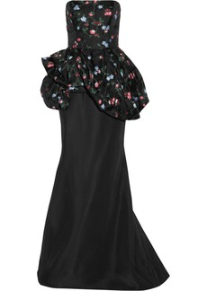 Oscar de la Renta Floral-embroidered gauze and twill gown