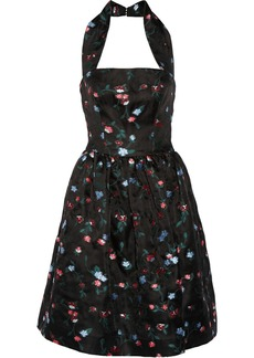 Oscar de la Renta Floral-embroidered gauze halterneck dress