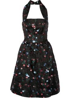 Oscar de la Renta Floral-embroidered gauze halterneck dress