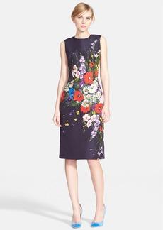Oscar de la Renta Floral Print Silk Faille Pencil Dress