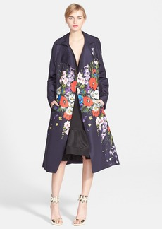 Oscar de la Renta Floral Print Silk Faille Trench Coat