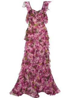 Oscar de la Renta Floral-print silk-organza gown