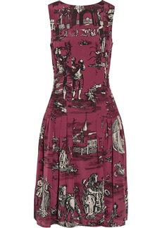 Oscar de la Renta for THE OUTNET Printed washed-silk dress