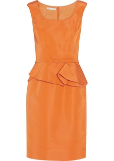 Oscar de la Renta for THE OUTNET Silk-satin faille peplum dress