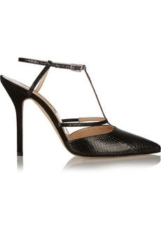 Oscar de la Renta Gloria snake-effect T-bar leather pumps