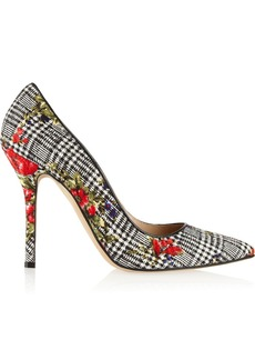 Oscar de la Renta Grace printed silk and wool-blend pumps