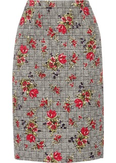 Oscar de la Renta Houndstooth-print wool and silk-blend skirt