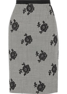 Oscar de la Renta Houndstooth wool and silk-blend skirt