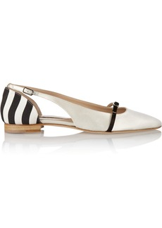 Oscar de la Renta Judgie color-block satin and canvas ballet flats