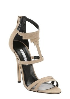 Oscar de la Renta khaki nubuck 'Simona' rear zip stiletto sandals