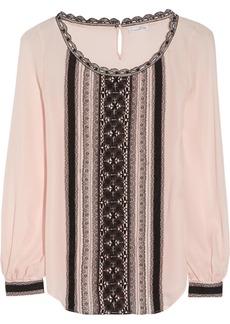 Oscar de la Renta Lace-appliquéd silk blouse