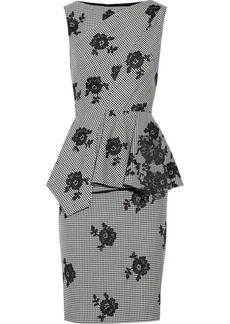 Oscar de la Renta Lace-appliquéd wool and silk-blend dress