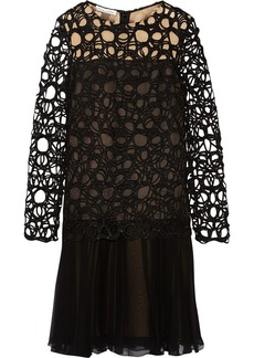 Oscar de la Renta Lace-paneled silk-chiffon dress