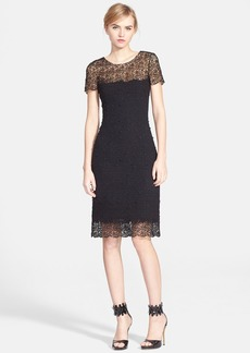 Oscar de la Renta Lace Trim Tweed Sheath Dress