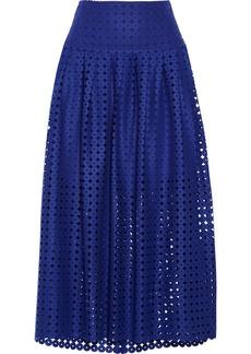 Oscar de la Renta Laser-cut wool skirt