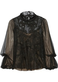 Oscar de la Renta Layered lace and tulle top