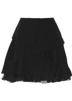 Oscar de la Renta Layered wool and silk-chiffon skirt
