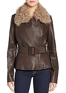 Oscar de la Renta Leather & Shearling Belted Jacket