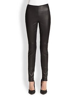 Oscar de la Renta Leather Skinny Pants