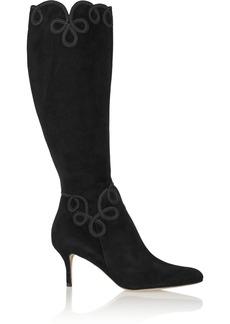 Oscar de la Renta Manya embroidered suede boots