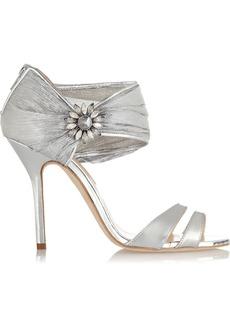 Oscar de la Renta Melissa embellished leather and chiffon sandals