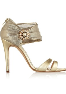 Oscar de la Renta Melissa embellished leather and chiffon sandals