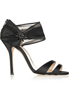 Oscar de la Renta Melissa embellished satin and chiffon sandals