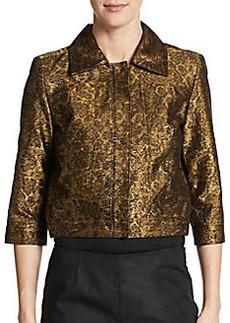Oscar de la Renta Metallic Brocade Cropped Jacket