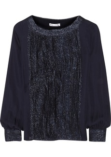 Oscar de la Renta Metallic fil coupé-trimmed silk blouse