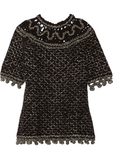 Oscar de la Renta Metallic open-knit cashmere-blend top